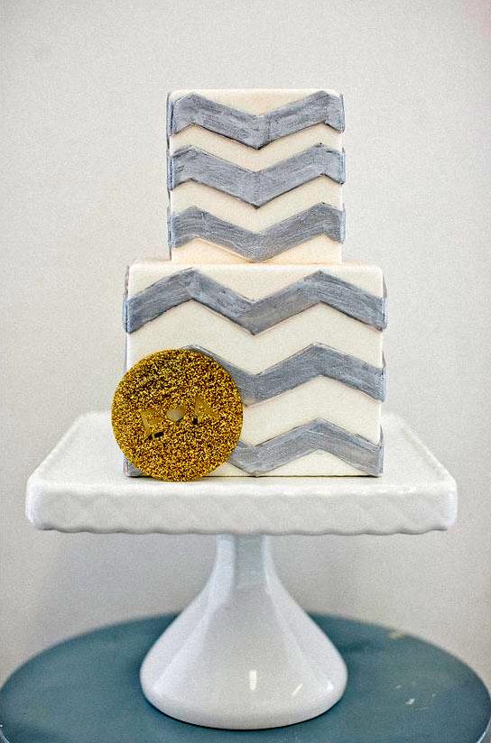 Square, White Cake with Silver Chevron Pattern