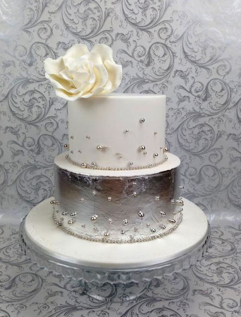 Two-Tiered Cake, Silver Bottom, Silver Decoration