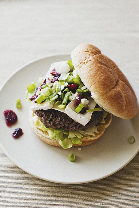 Burger with Brie and Greens on Hamburger Bun
