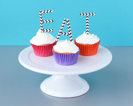 "Cupcakes with Monogram Toppers Reading ""EAT"", on Bluprint"