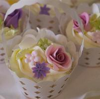 Floral Cupcakes in Little Baskets