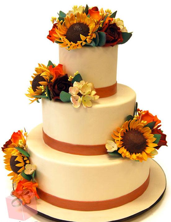 Three-Layer Cake with Fondant Sunflowers