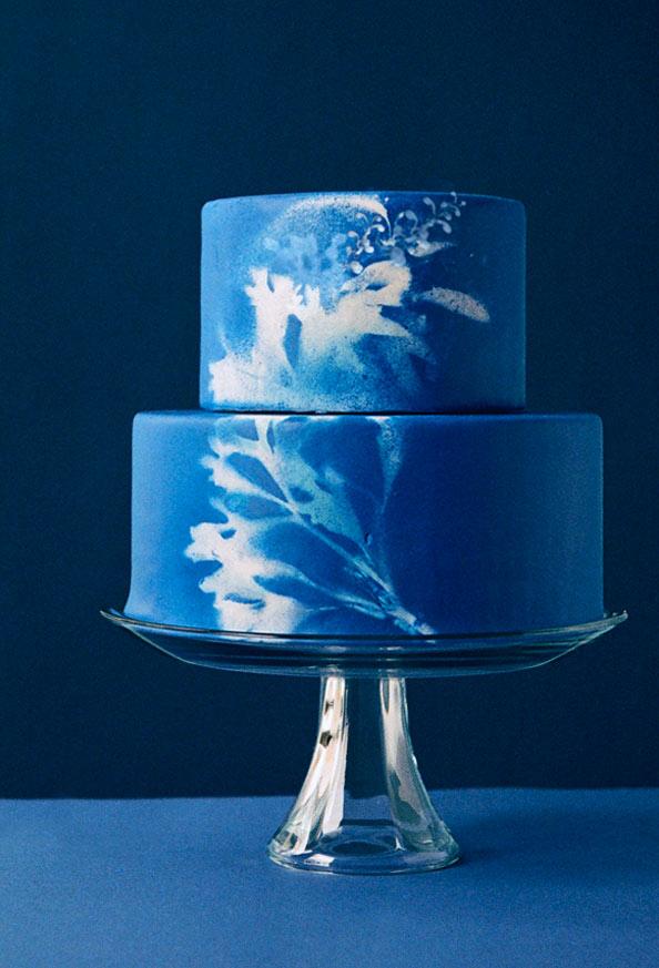 Cobalt Blue Airbrushed Cake