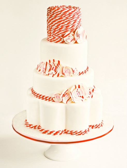 Four-Tiered White Cake with Candy-Cake Striped Accents