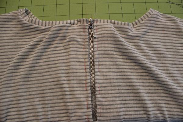 Basted zipper