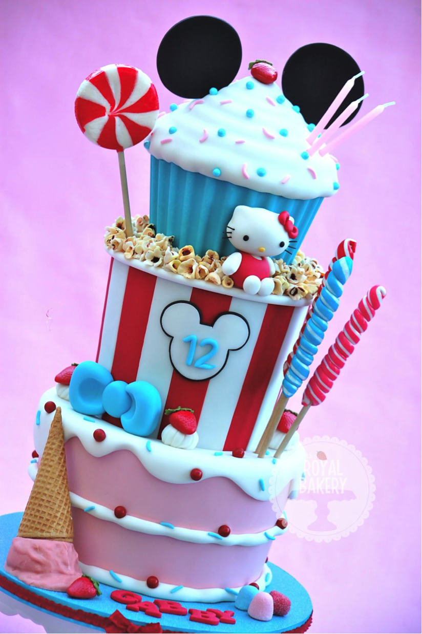 "Multi-Layered Candy-Themed Cake with ""Spilled Ice Cream Cone"" on Side"