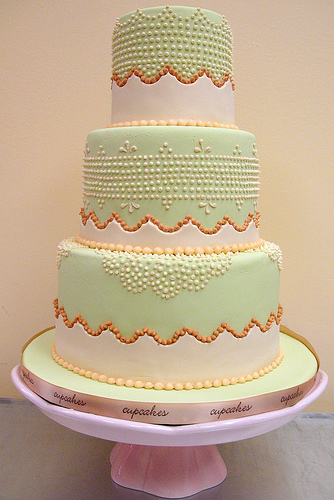 Tiered White and Pale Green Cake