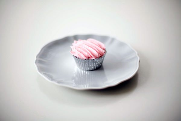 Cupcake with Pink Piped Lines