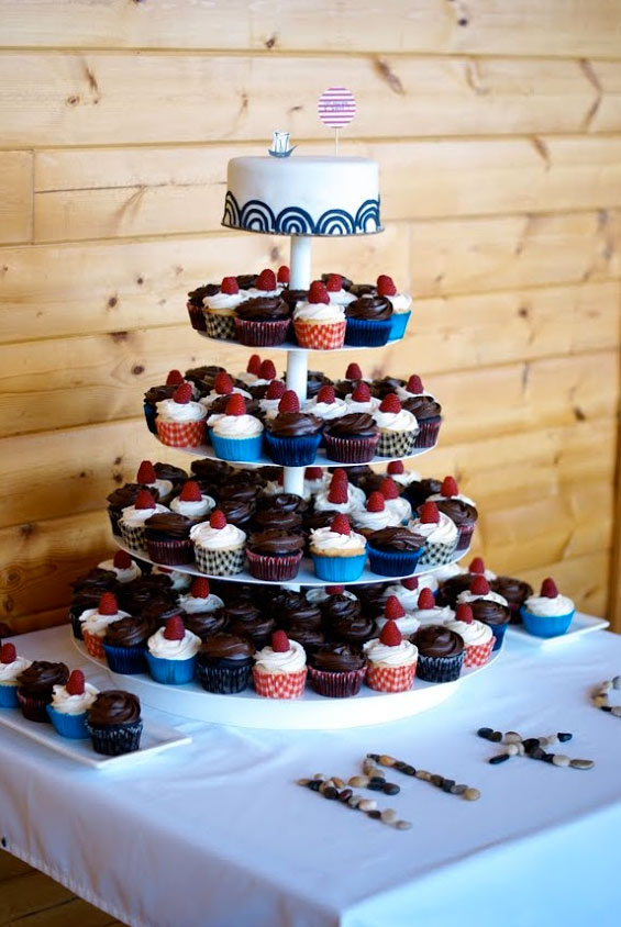 Wedding Cupcake Tower, Multi-Colored Cupcakes