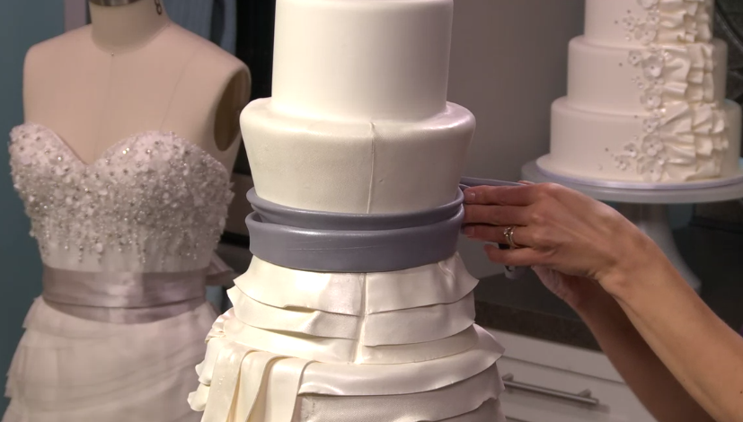 Wedding Dress, and In-Progress Wedding Cakes