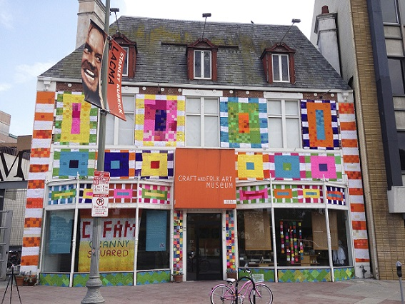 Storefront Covered in Yarn