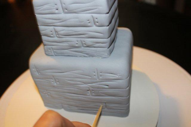 Haunted House Cake Tutorial: Adding Further Texture to Haunted House