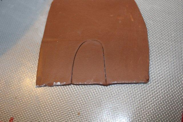 Creating Door for Haunted House Cake from Rolled Modeling Chocolate