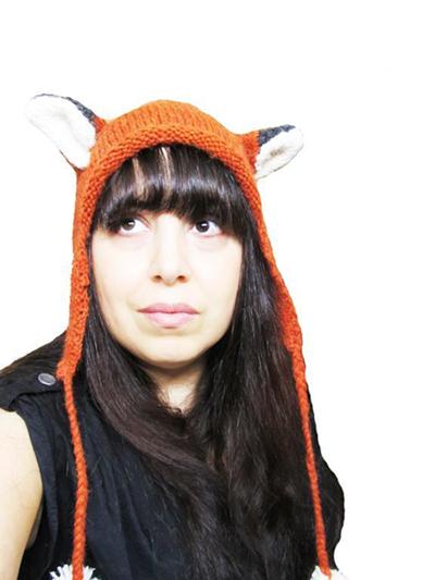 Woman Wearing Knit Fox Hat