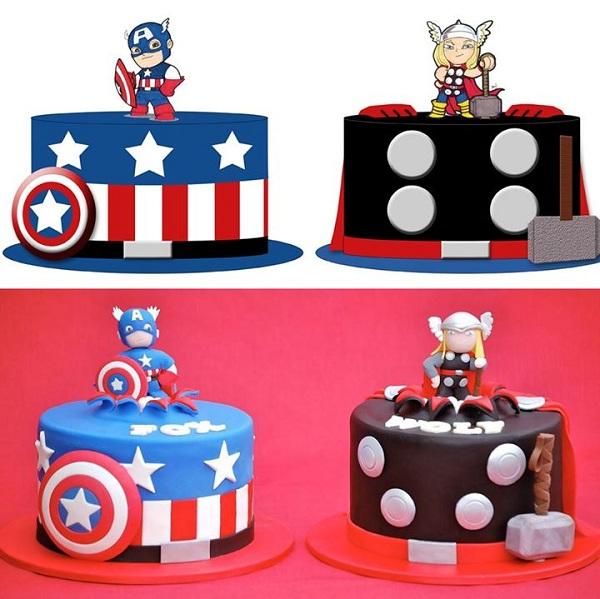 Captain America and Thor Cupcakes - Drawing and Finished Creations