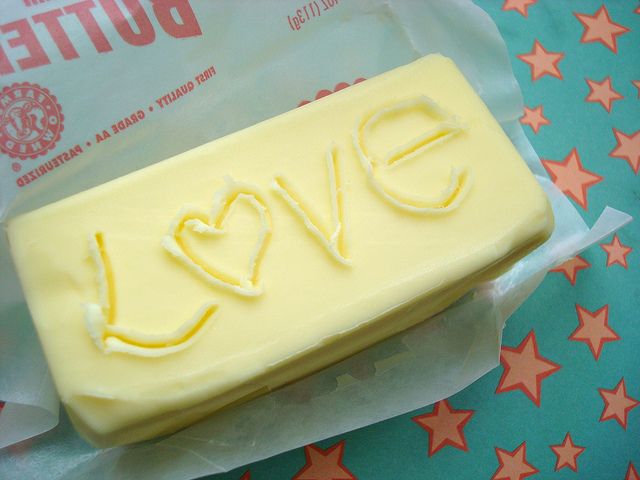 """Butter with """"Love"""" Carved into It"""