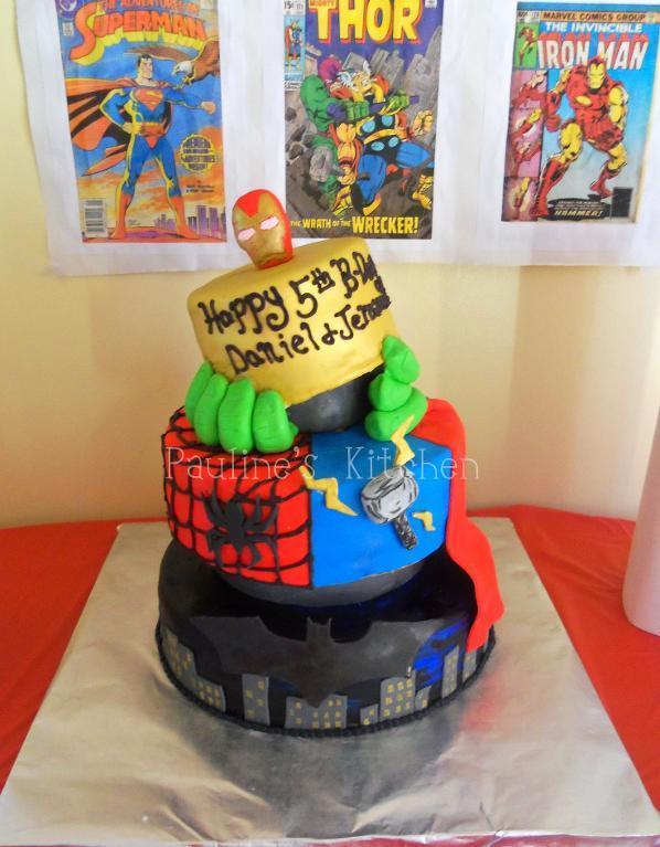 Topsy Turvy Superhero Cake