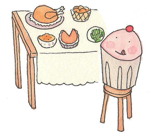Cartoon of Cupcake at Thanksgiving Table