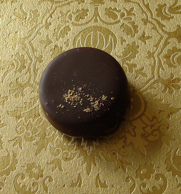 Chocolate Truffle on Gold Fabric