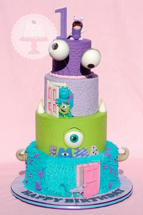 Tiered Monster Birthday Cake