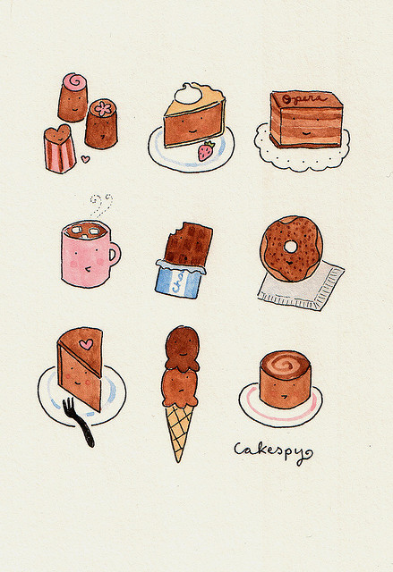 Cartoon of Various Chocolatey Desserts