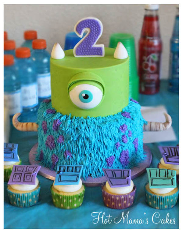 Monster Tiered Cake and Cupcakes