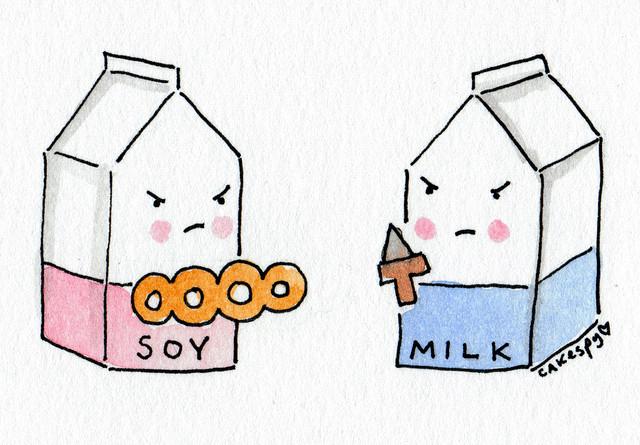 Cartoon: Soy Milk vs. Regular Milk