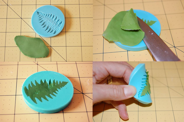 Collage of Molding Steps to Create Fondant Leaves