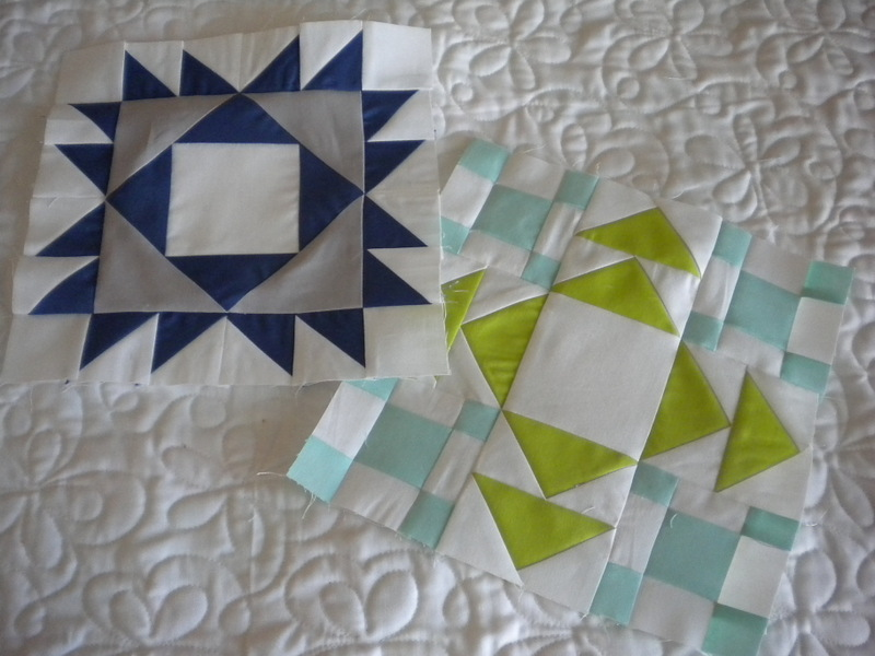 Two Quilt Blocks, One with Flying Geese Pattern