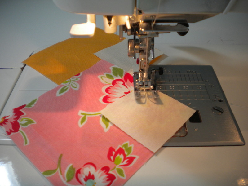 Chain Piecing Fabric on Sewing Machine