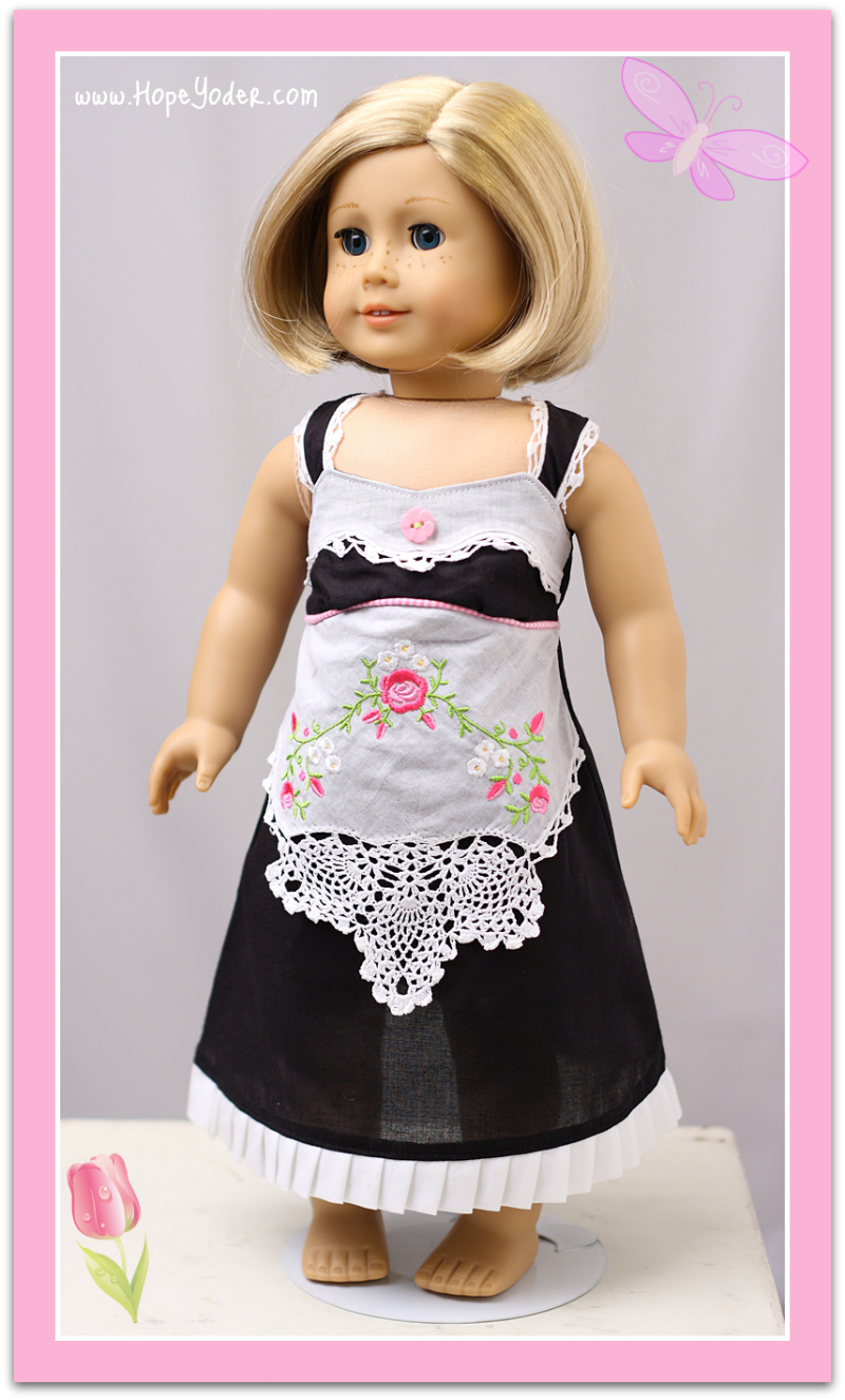 Doll Wearing Apron Created from Handkerchief, on Craftsy