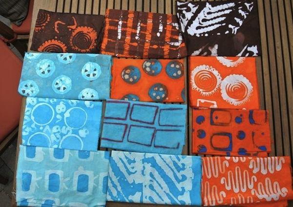 Various Dyed Fabrics Hanging
