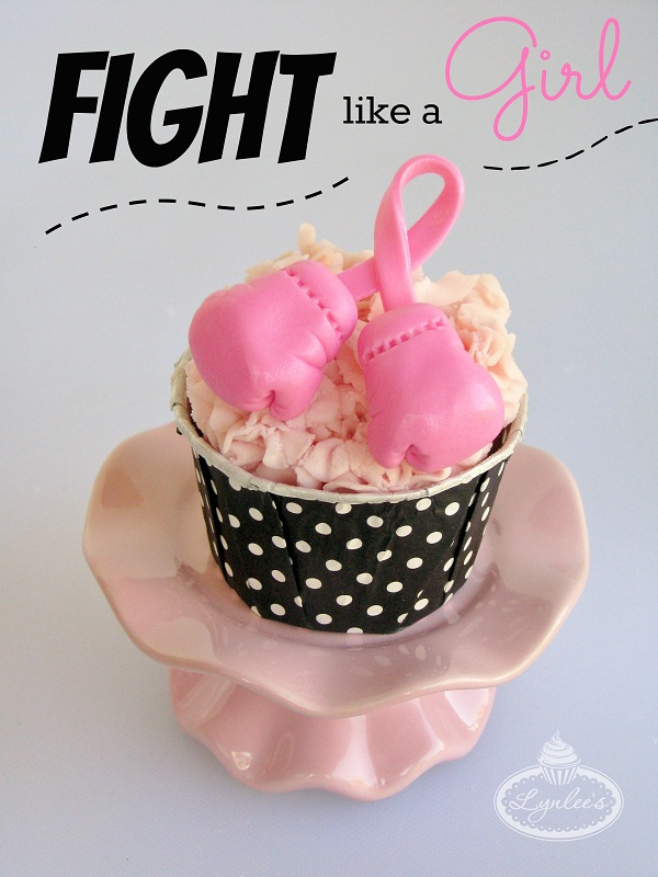 Cupcake Topped with Pink Fondant Boxing Gloves