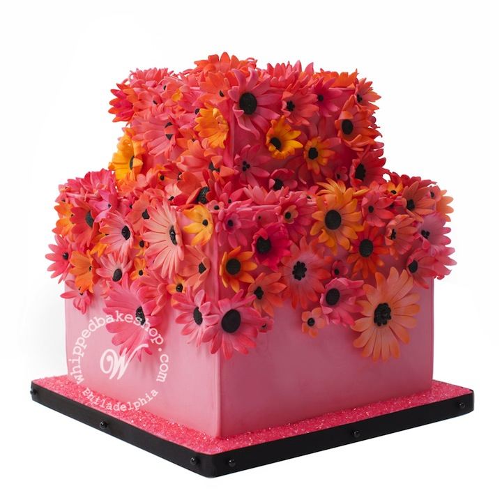 Pink Square Cake with Orange-Hued Flowers