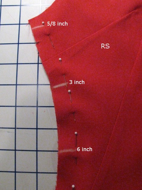 Red Garment with Overlaying Graphic Text Measurements