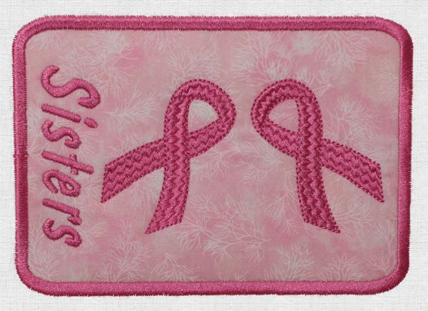"Mug Rug Reading ""Sisters"" with Two Pink Ribbons"