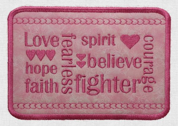 Embroidered Patch with Breast Cancer Awareness Theme