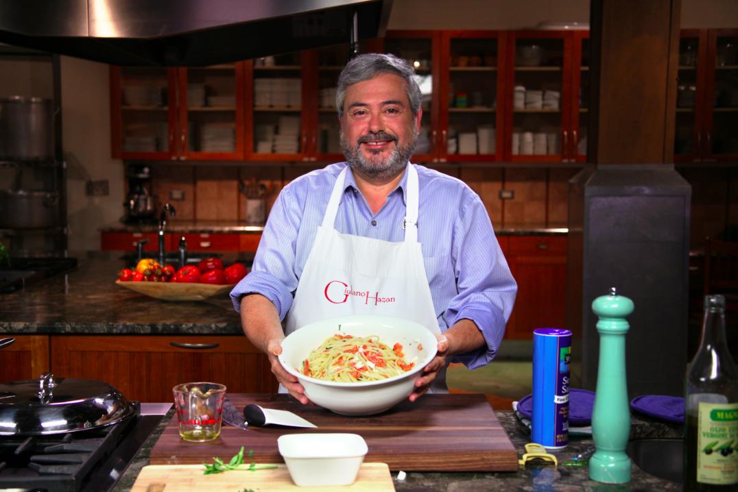 Giuliano Hazan Holding Bowl of Pasta