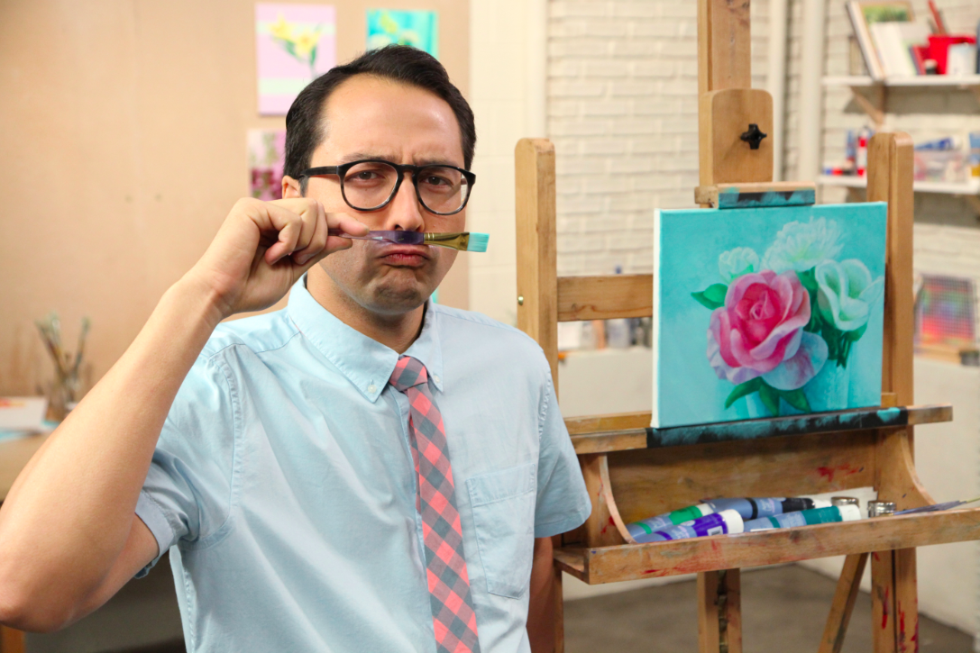 Micah Ganske Goofing Around in Studio (Making a Mustache out of a Paintbrush)