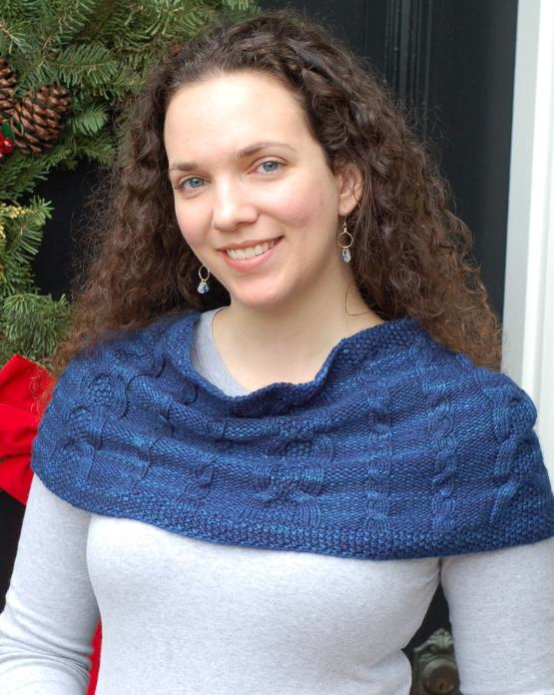 Woman Wearing Blue Knit Cowl