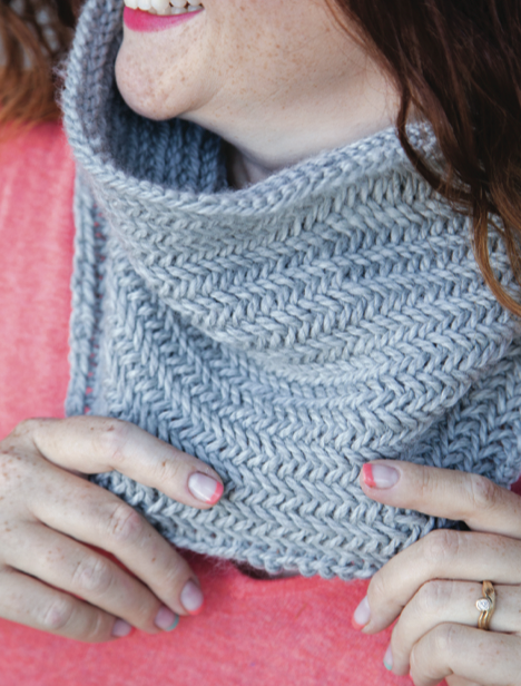 Blue Herringbone Cowl