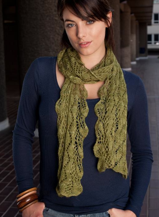 Woman Modeling Green Knit Scarf