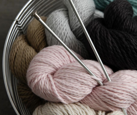 Needles and Yarn in Basket