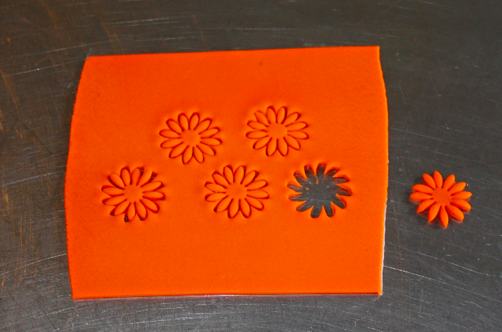 Cutting Flowers from Fondant