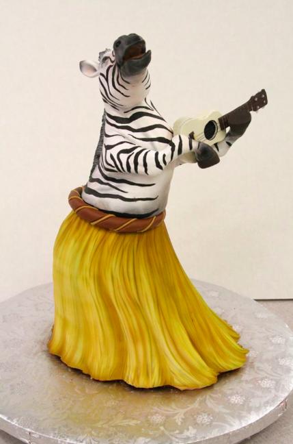 Cake Sculpted as Hula Dancing Zebra