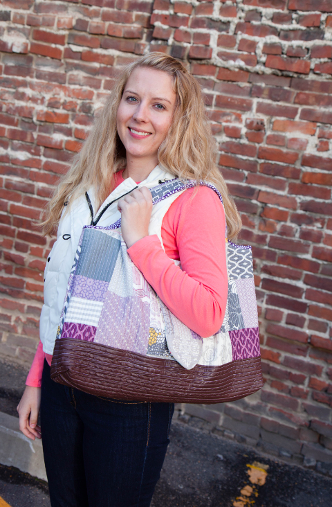 Bluprint Employee Brianna with her Homemade Patchwork Bag