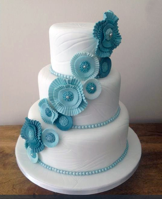 Tiered and Textured White Cake with Modern Blue Sugar Flowers