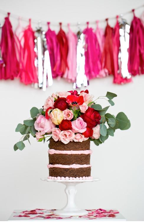 Bright, Flower-Topped Naked Wedding Cake, on Bluprint