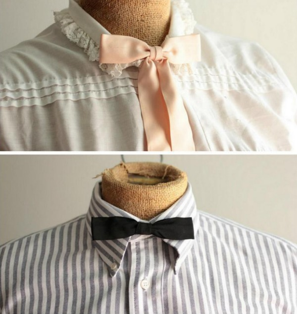 Skinny Black and Pink bowties on Mannequins