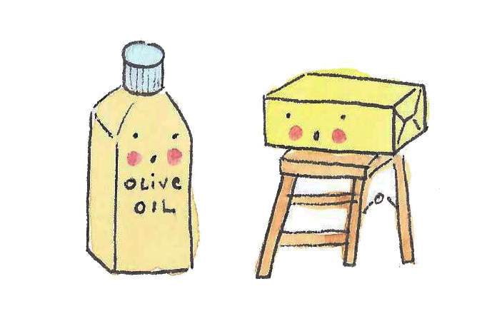 Cartoon of Olive Oil and Butter